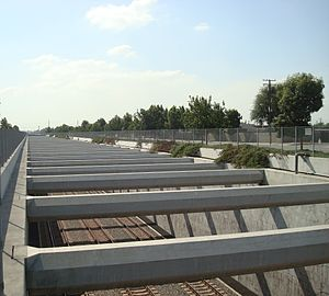 Alameda Corridor - A section of the Alameda Corridor trench in the city of Compton.