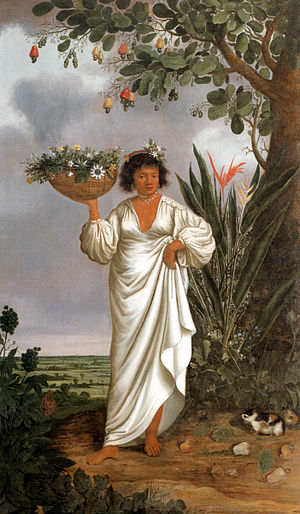 Cashew - Mameluca woman under a fruiting cashew tree (1641–1644)