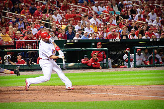 History of the St. Louis Cardinals (1990–present) - First baseman Albert Pujols bats in April 2010