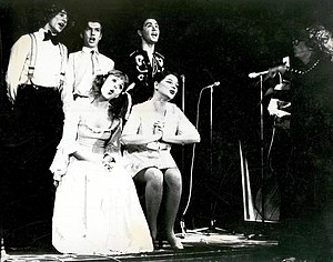 "Thomas Dellert Dellacroix - Dellert (standing center) does ""Twinkling Stars"" by Birgit Ridderstedt with the AlexCab ensemble in 1975."