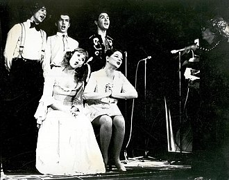 """Thomas Dellert Dellacroix - Dellert (standing center) does """"Twinkling Stars"""" by Birgit Ridderstedt with the AlexCab ensemble in 1975."""