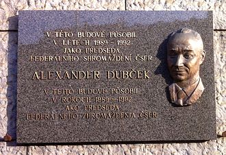 Alexander Dubček - Alexander Dubček was elected Chairman of the Czechoslovak Parliament 1989–1992. The Plaques in Prague was made in 2006 by Teodor Baník. It is placed on the wall of the Národní muzeum - nová budova.