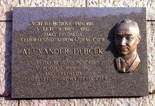 Alexander Dubcek was elected Chairman of the Czechoslovak Parliament 1989-1992. The Plaques in Prague was made in 2006 by Teodor Banik. It is placed on the wall of the Narodni muzeum - nova budova. Alexander Dubcek 1921-1992.JPG
