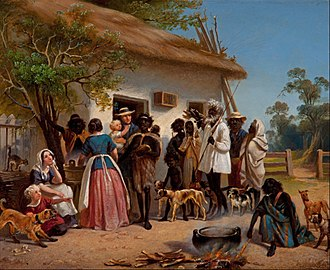 South Australia - European settlers with Aborigines, 1850