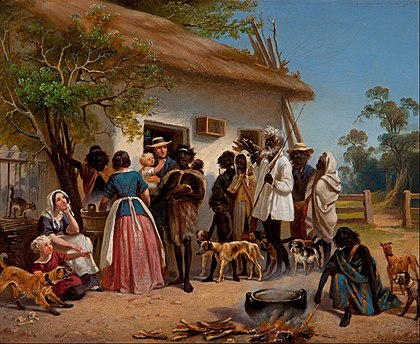 European settlers with Aborigines, 1850 Alexander Schramm - A scene in South Australia - Google Art Project.jpg