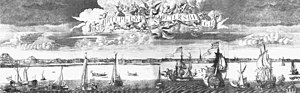 Yacht club - A view of St. Petersburg by Alexey Zubov, 1716, shows yachts and war ships on the Neva River.