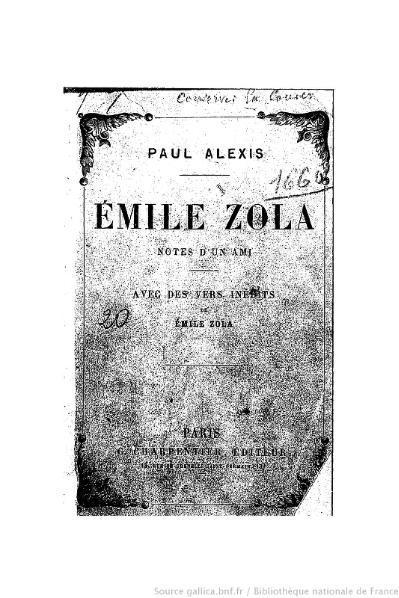 File:Alexis - Émile Zola. Notes d'un ami, Charpentier, 1882.djvu