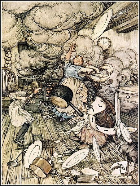 File:Alice in Wonderland by Arthur Rackham - 06 - An unusually large saucepan flew close by it, and very nearly carried it off.jpg