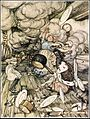 Alice in Wonderland by Arthur Rackham - 06 - An unusually large saucepan flew close by it, and very nearly carried it off.jpg