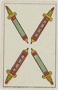 Aluette card deck - Grimaud - 1858-1890 - Four of Swords.jpg
