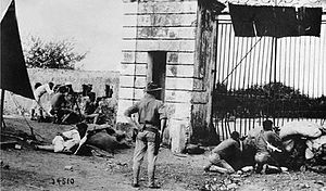 United States occupation of Haiti - American Marines in 1915 defending the entrance gate in Cap-Haïten