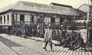 United States Military Government of the Philippine Islands - Photo of American soldiers guarding a bridge over the Pasig River after the battle, August 13, 1898
