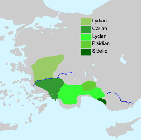 A map of Lydian and Lycian languages in ancient Anatolia