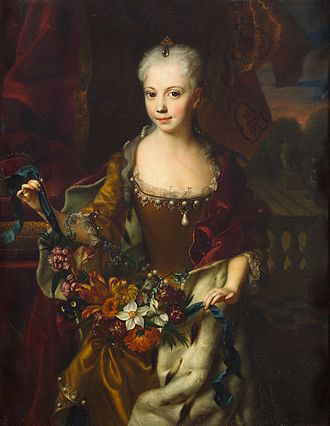 Archduchess Maria Anna of Austria (governor) - Archduchess Maria Anna in 1729, by Andreas Möller. The flowers which she carries in the uplifted folds of her dress represent her fertility and expectations to bear children in adulthood.