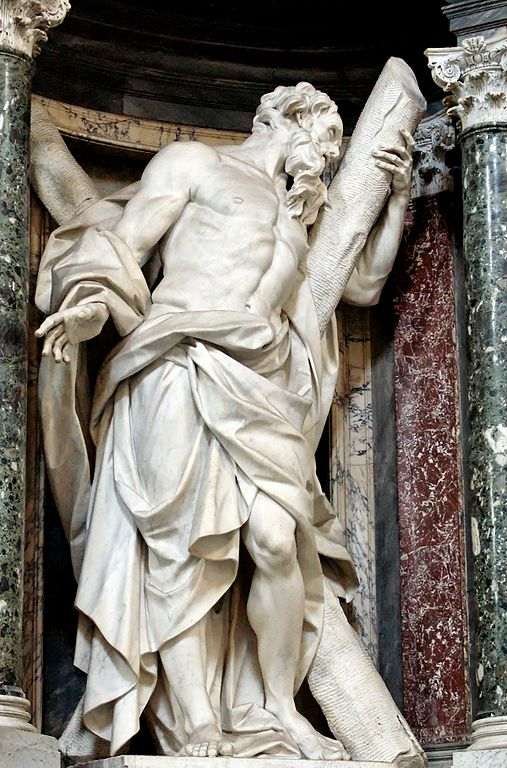 Statue of St. Andrew by Camillo Rusconi (c. 1714), Archbasilica of St. John Lateran, Author Marie-Lan Nguyen (PD, Art-100; CC-BY 2.5 Generic)