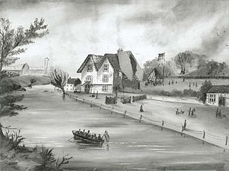 Croydon Canal - Anerley, 1860. This part of the canal remained, after closure, for pleasure boating.