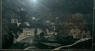 Ashford Black Marble - A picture of Matlock Bath engraved using Ashford Black Marble by Ann Rayner