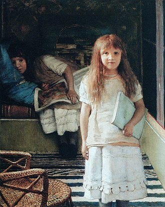 Lawrence Alma-Tadema - Anna (in front) and Laurence (Lawrence Alma-Tadema, 1873)