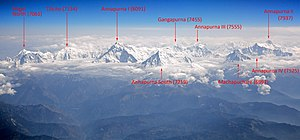 Annapurna Massif - The Annapurna massif, view from aircraft