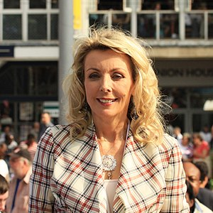 Anne Davies (British journalist) - at the 2012 Olympic torch relay in Nottingham