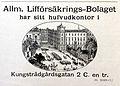 Annons för Allmäna Lifförsäkrings-Bolaget med avbildning av Hamiltonska huset vid Kungsträdsgårdsgatan i Stockholm 1888.jpg