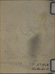 Pencil sketch of a cherub riding an animal