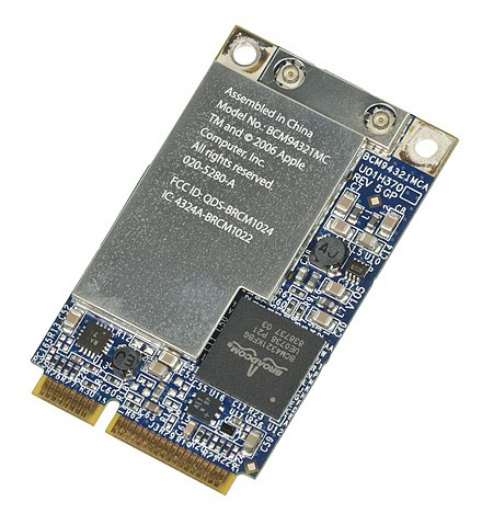 An AirPort wireless G Wi-Fi adapter from an Apple MacBook. Apple-Airport-Extreme-80211g-WiFi-Card.jpg