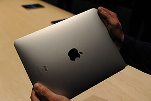 English: The brushed aluminum back of the iPad...