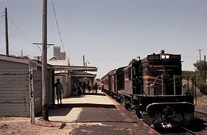 Blayney–Demondrille railway line - 4876 stands at Lyndhurst station with an enthusiast special
