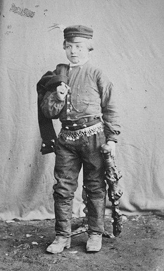 Bidding stick - A Finnish boy with a bidding stick from 1876.