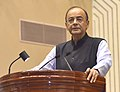 "Arun Jaitley addressing at the release of Book ""MOVING ON… MOVING FORWARD A YEAR IN OFFICE"", published on the completion of One Year in the Office of the Vice President, Shri M. Venkaiah Naidu, in New Delhi.JPG"