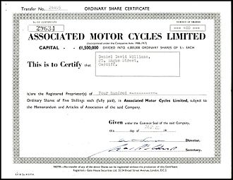 Associated Motor Cycles - Share of the Associated Motor Cycles Ltd., issued 27. July 1961