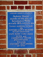 Aubrey House plaque.jpg