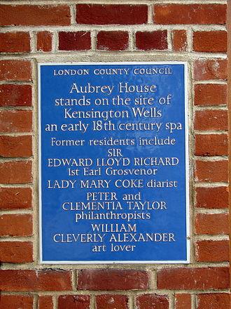 Aubrey House - The LCC blue plaque at Aubrey House