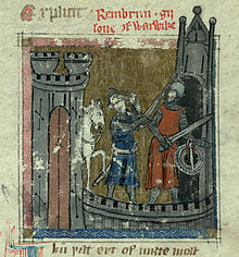 A colourful depiction of knights in a castle