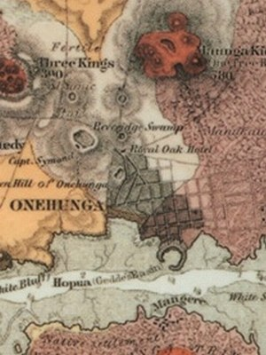 Onehunga - 1859 map of Onehunga and nearby volcanoes.