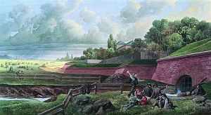 Vienna Beltway - Painting of the Linienwall fortification (by August Stefan Kronstein)