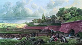Gürtel, Vienna - Painting of the Linienwall fortification (by August Stefan Kronstein)