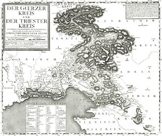 Princely County of Gorizia and Gradisca - 18th century map of the Inner Austrian districts of Görz and Trieste