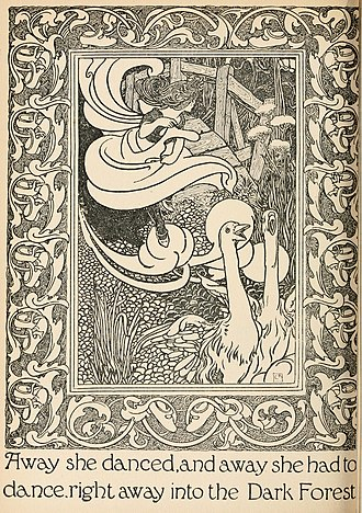 """Charles Robinson (illustrator) - Illustration for """"The Red Shoes"""", from Fairy tales from Hans Christian Andersen by Charles Robinson (1899)"""