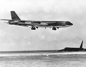Operation Linebacker II - A B-52G lands at Andersen AFB after a mission on 15 December 1972.