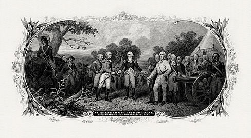 A Bureau of Engraving and Printing vignette used on the reverse of the $500 National Bank Note. BEP-GIRSCH-Surrender of General Burgoyne (Trumbull).jpg