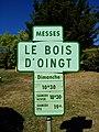 Bagnols - Panneau programmation des messes du Bois-d'Oingt (sept 2018).jpg