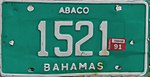 Bahamas vehicle registration plate 2012.jpg