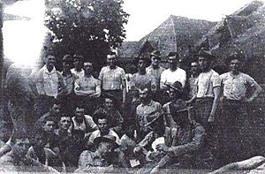 Balangiga massacre - Photo of Company C, 9th US Infantry Regiment with Valeriano Abanador (standing, sixth from right) taken in Balangiga. The provenance of the photograph is uncertain.