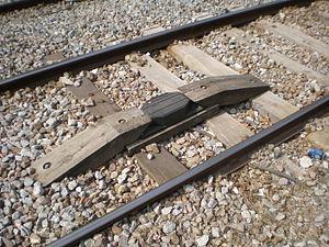 Anuncio de Señales y Frenado Automático - Track-mounted balise used for ASFA in Mollet-Santa Rosa railway station Mollet del Vallès, Catalonia