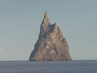 Balls Pyramid Island in the Pacific Ocean