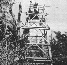 A black and white photograph of a wooden tower in the woods. A man is standing on its open deck