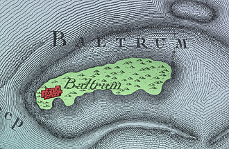 Baltrum - Map of Baltrum by Karl Ludwig von Lecoq 1805 with the village