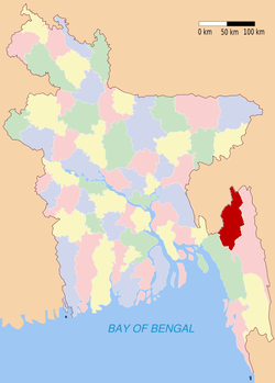 Location of Khagrachari in Bangladesh